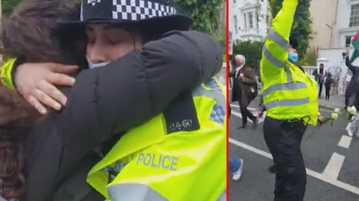 İngiltere'de polis memuru, durdurmak için gittiği Filistin yanlısı protestoculara katıldı