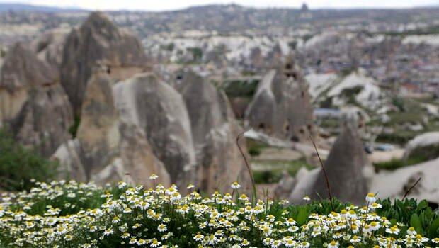 Kapadokya'nın ilkbahar manzarası büyülüyor